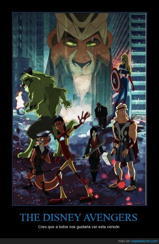 Avengers,bestia,disney,hercules,hulk,kuzco,loki,mulan,robin hood,scar,thor,vengadores