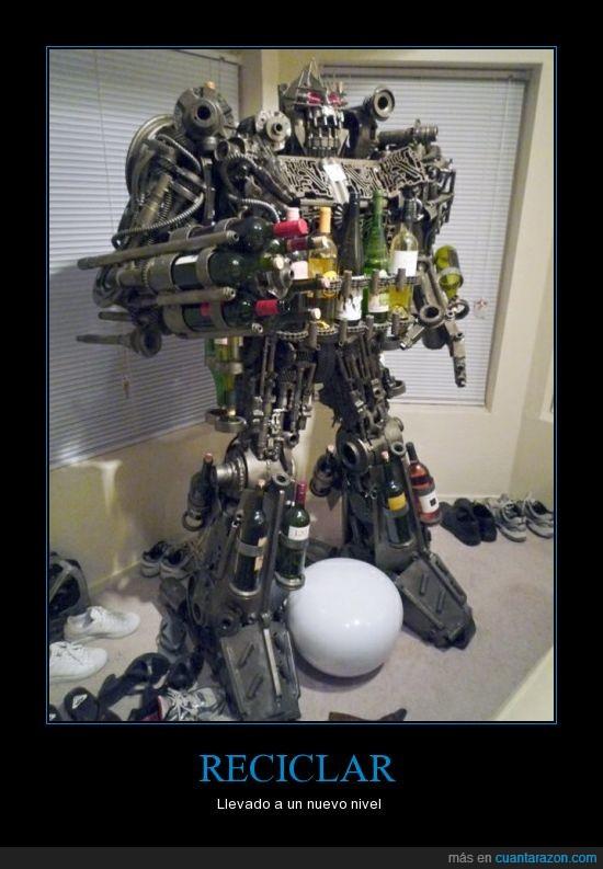 botella,pieza,que jefe,reciclar,robot,transformers,vino