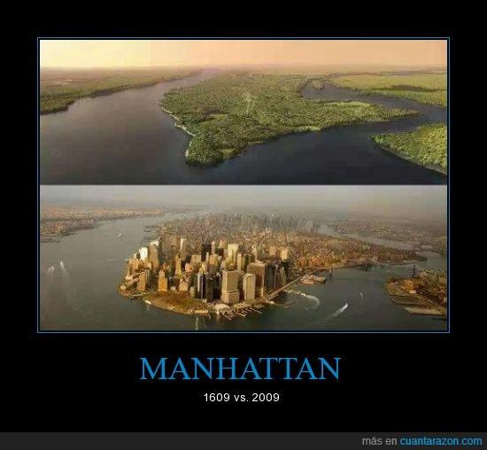 antes,ciudad,después,edificios,isla,manhattan,Nueva york,progreso,USA.,verde