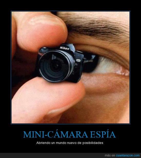 cámara,espia,lente,miniatura,nikon,novedad,ojo,pequeña