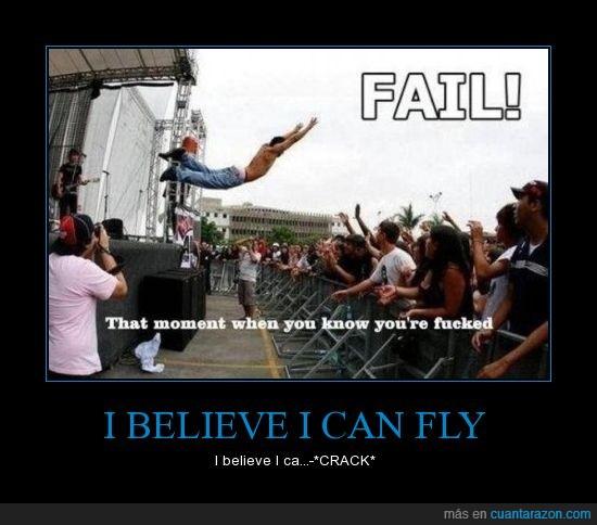 cantante,comer suelo,concierto,fail,hostia,i belive i can fly,metal,público,salto