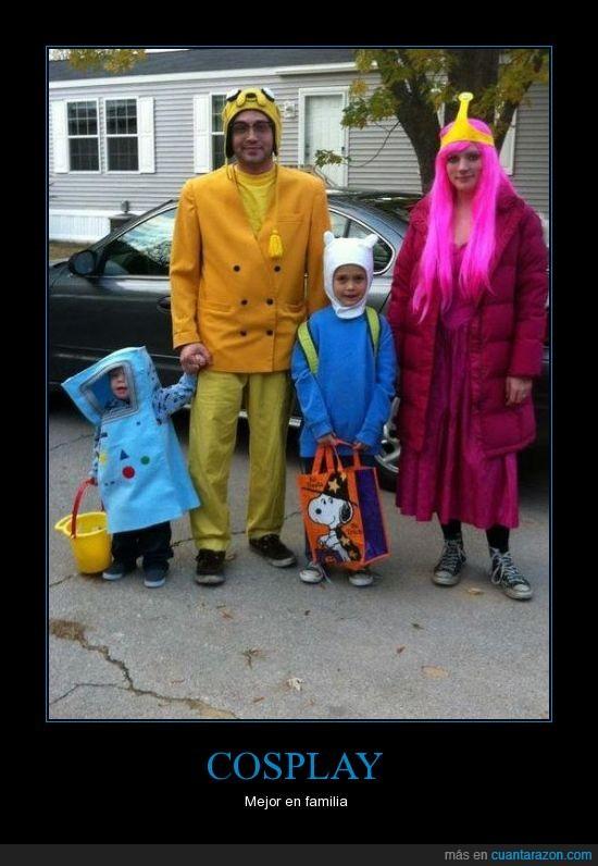 cosplay,disfraz,familia,finn,halloween,hora de aventuras,jake,juntos