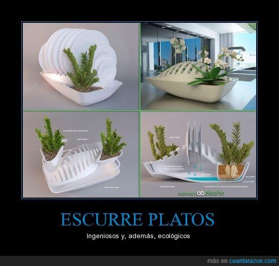 agua,diseño,ecológico,escurrir,platos,secar