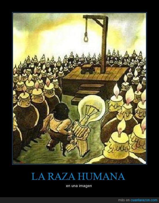 ahorcar,bombilla,horca,humano,libre,luz,matar,pensador,raza,vela