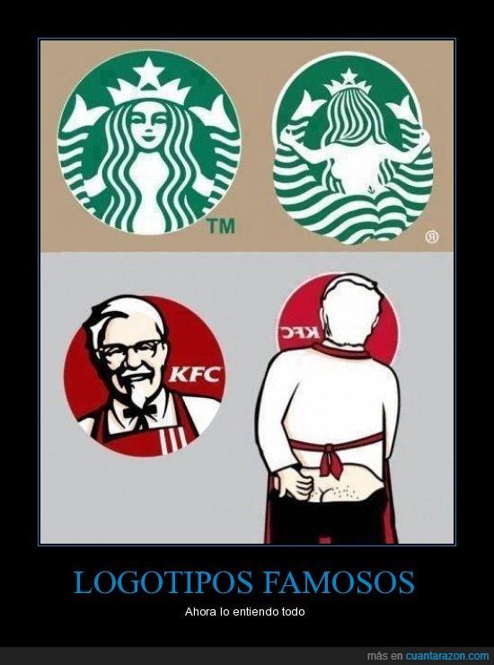 Cafe,comida,coronel,kentucky fried chicken,KFC,logotipos,piernas,sirena,starbucks,Tod tiene sentido
