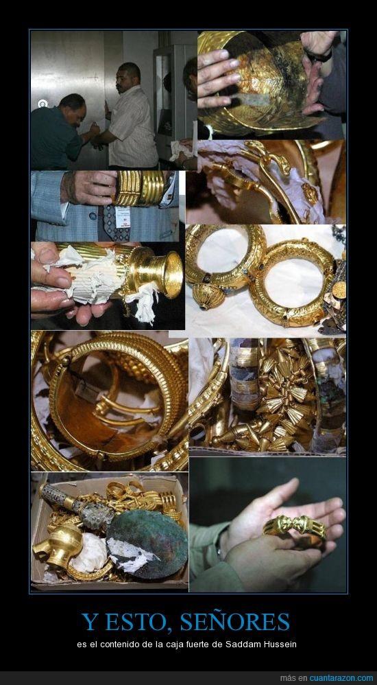 a lo tutankamon,caja,fuerte,oro,riqueza,Saddam Hussein