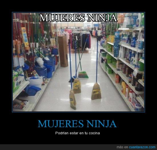 escobas,mujeres ninja,supermercado