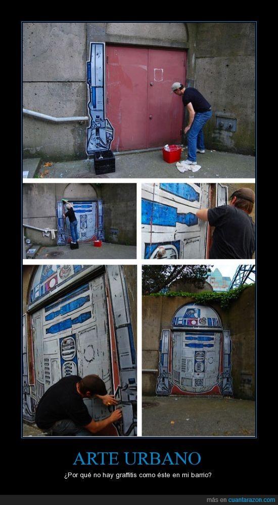 arte,graffiti,pared,r2d2,star wars,urbano