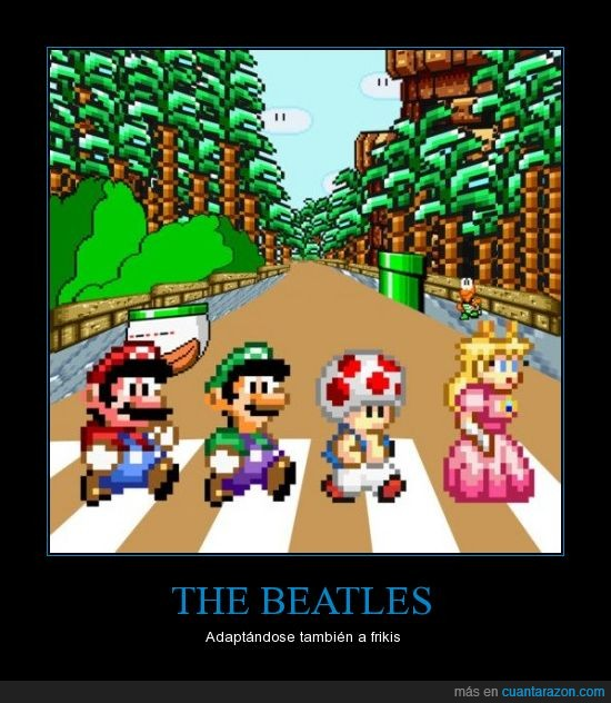 luigi,mario,mario bros,paso de zebra,princesa,the beatles,toad