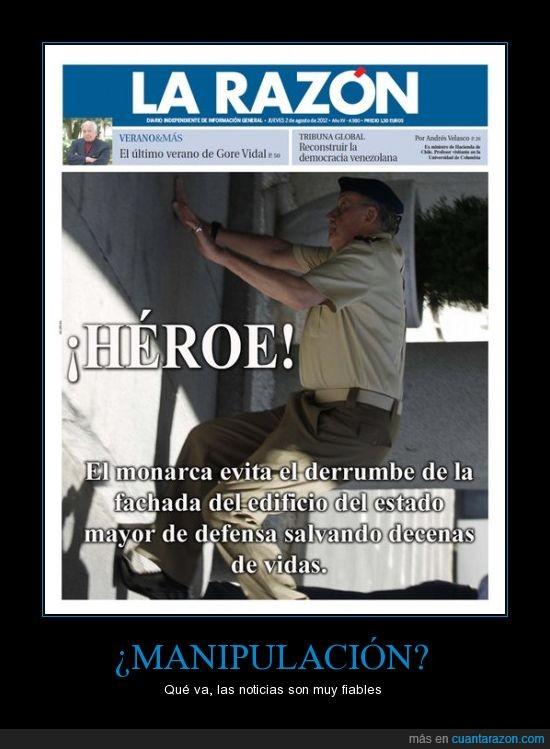 caida,edificio,Juan Carlos,manipilación,noticia,rey de España,salvar,tropezón