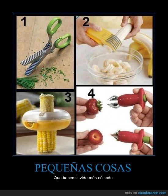 corta,cuchillo,fresa,grano,juliana,maiz,picar,platano,quita,rodaja,saca,tijera