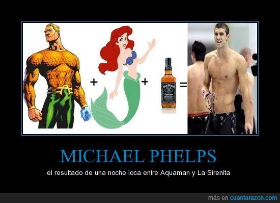 aquaman,es la única explicación,michael,phelps,sirenita,whisky
