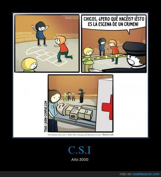 C.S.I,cadaver,charranca,futurama,humor,humor absurdo,jugar,niño,pintar,robot,saltar,tiza,viñeta