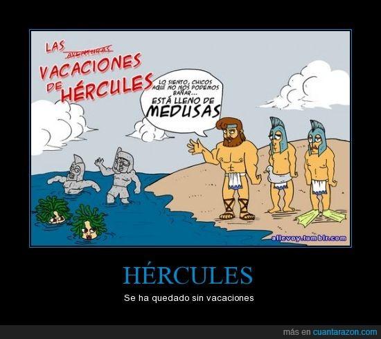 bañarse,comic,hercules,mar,medusas,mitologia,piedra,vacaciones