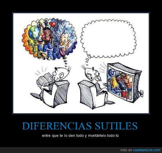 contraste,diferencias,imaginación,lectura,televisión