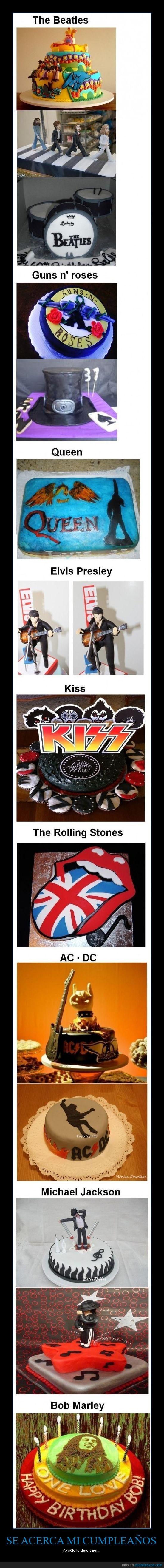 AC/DC,beatles,Bob marley,eslvis presley,guns´n roses,kiss,michael jackson,pastel,queen,rolling stones,tarta