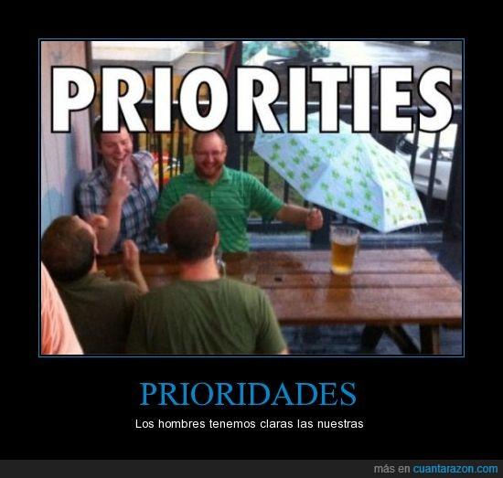 cerveza,lluvia,paraguas,prioridades
