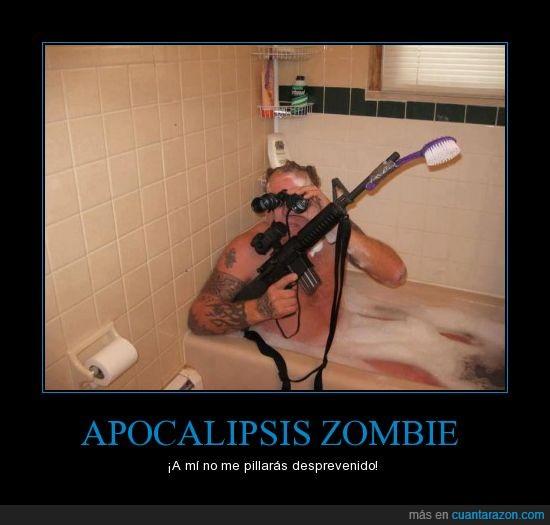arma,ducha,hombre,listo,loco,preparado,prismaticos,zombie