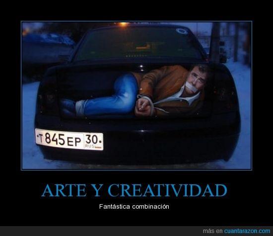 arte,atado,coche,falso,hombre,maletero,pintura,rusos como no,secruestrado,secuestro