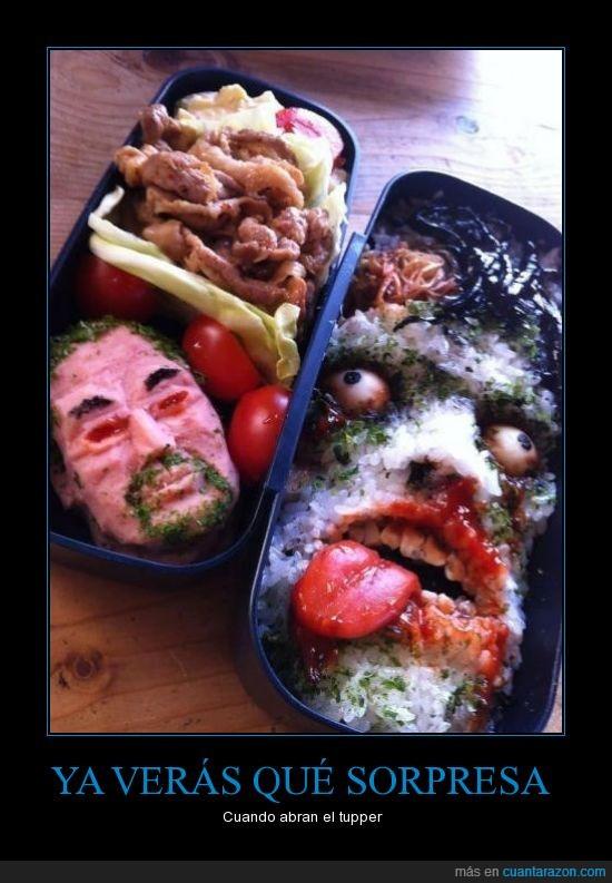 arroz,cara,comida,obento,zombie