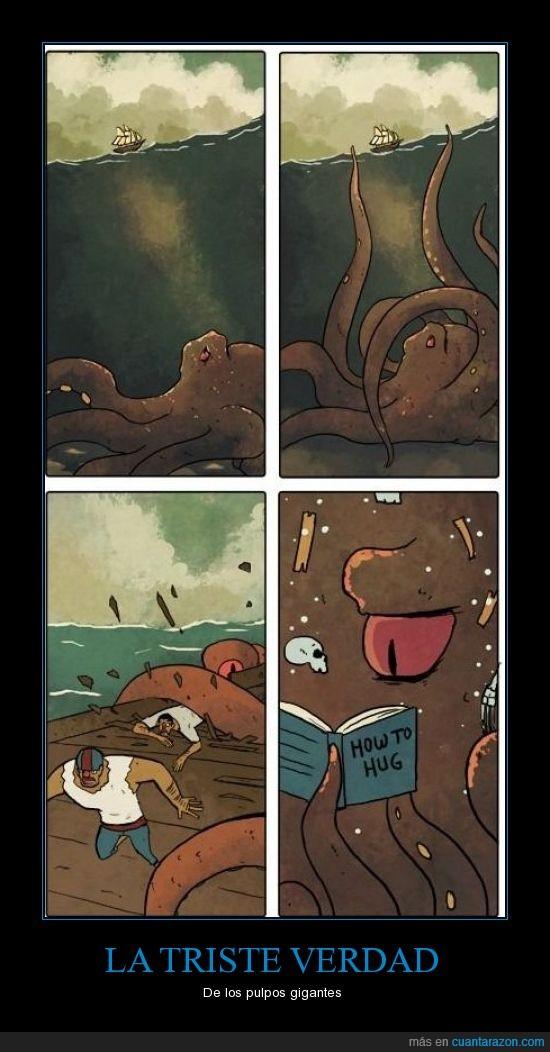 abrazar,gigante,kraken,libro,pulpo,queria dar amor