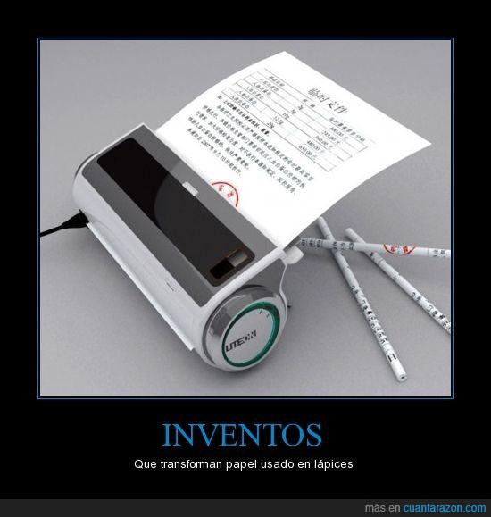 invento,lápices,lápiz,papel,reciclar