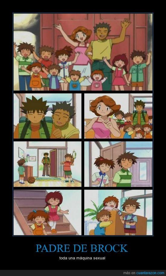 brock,casa,hermano,hija,hijo,mucho,padre,pokemon