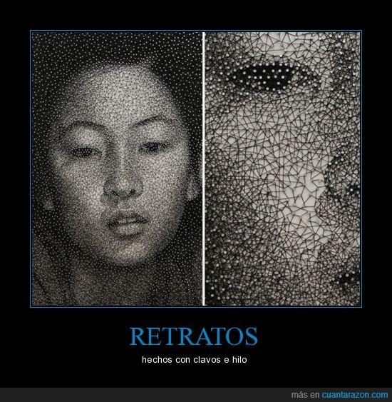 arte,asiatica,chica,china,clavos,hilo,retratos