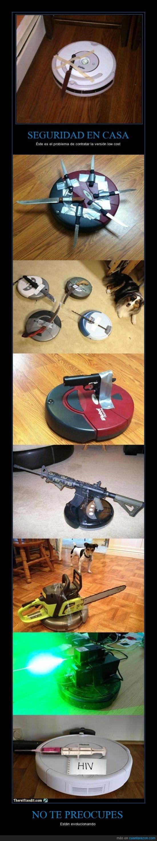 cuchillo,domótica avanzada,Doomba,jeriguilla,pistola,roomba,seguridad casera,sida