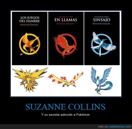 Los juegos del hambre,pajaro,Pokemon,portada,Suzanne Collins