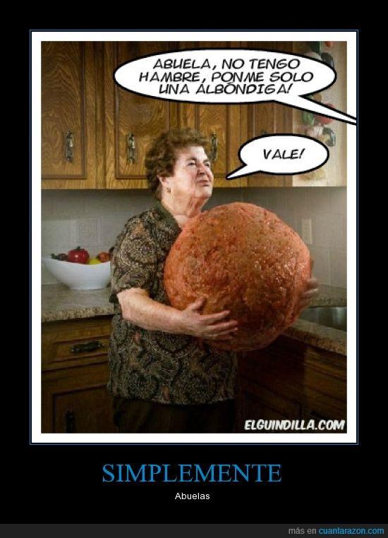 Abuelas,albondiga,comer,gigante,grande,pelota
