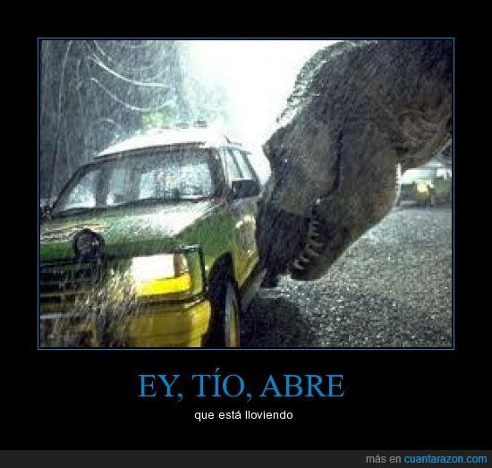 dinosaurio,jeep,jurassic park,llueve,lluvia,moja,parque jurasico,rex