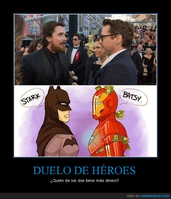 Anthony Stark,Batman,bruce Wayne,Bruno Díaz,Christian Bale,Comics,DC,Iron Man,Marvel,Robert Downey Jr