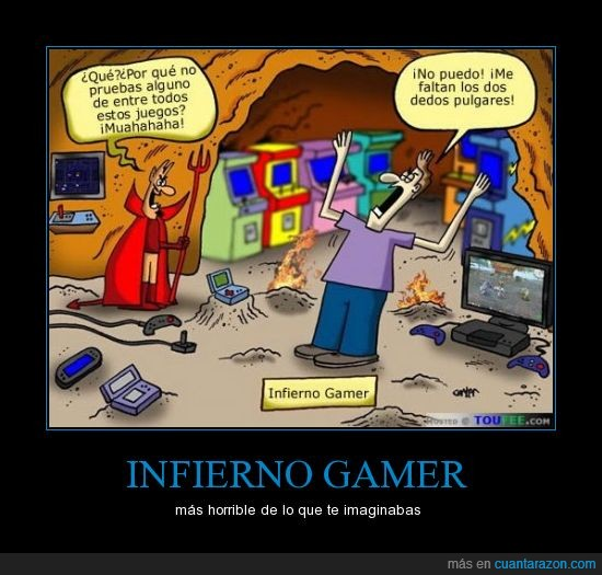 gamer,infierno,juego,pobrecillo,sin pulgar