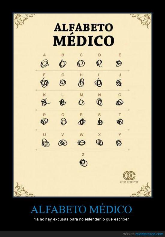 alfabeto,entender,escribir,excusas,médico