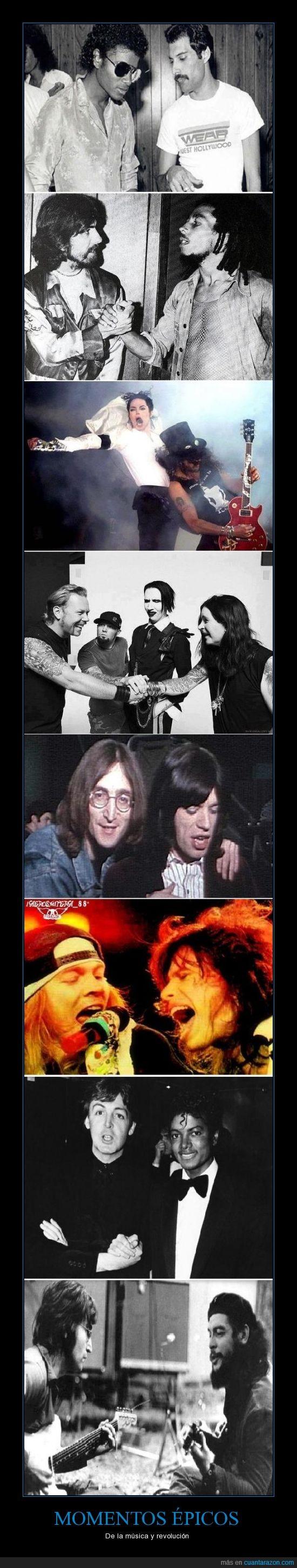 Axl Rose,Bob Marley,Che Guevara,Fred Durst,Freddie Mercury,George Harrison,James Hetfield,John Lennon,Marilyn Manson,Michael Jackson,Mick Jagger,Momentos épicos.,Ozzy Osbourne,Paul McCartney,Slash,Steve Taylor