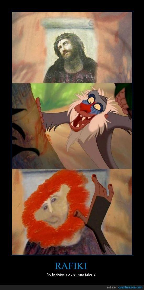 ecce homo,pelo,rafiki,rey león,simba