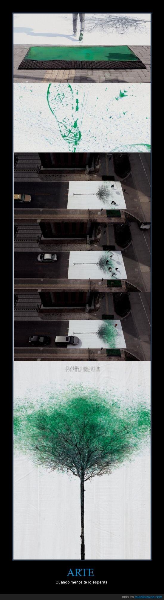 arbol,arte,calle,carretera,china,copa,hojas,pintura,pisada,verde