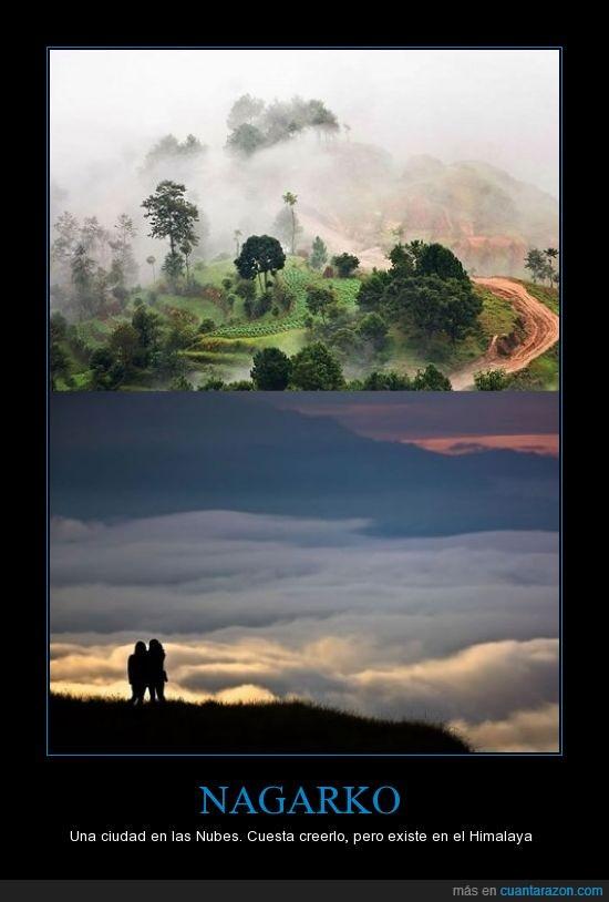 ciudad,ciudad en las nubes,himalaya,nagarko,nubes