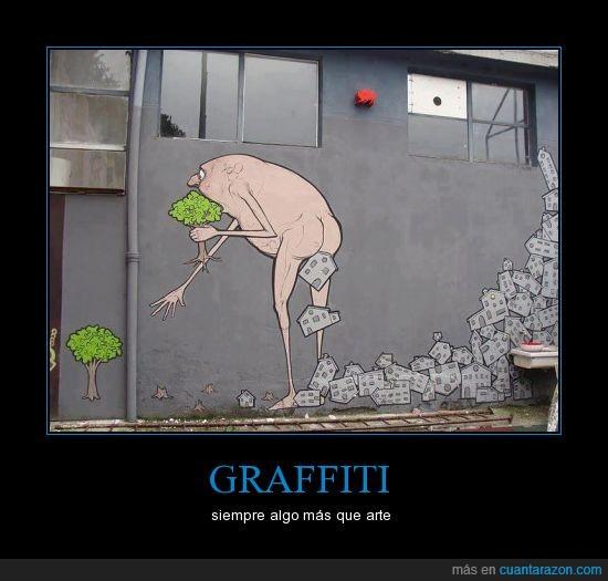 arboles,caga,casas,ciudad,deborar,graffiti,transformar
