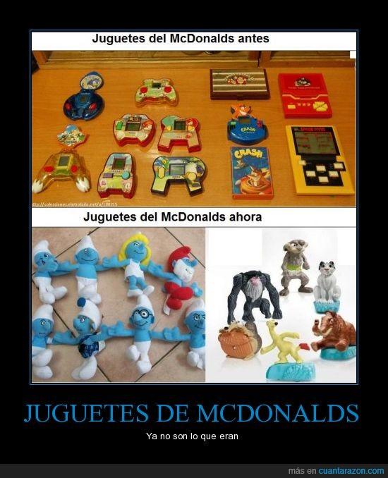 ahora,antes,juguetes,mcdonalds,muñecos feos,peluches,videojuegos