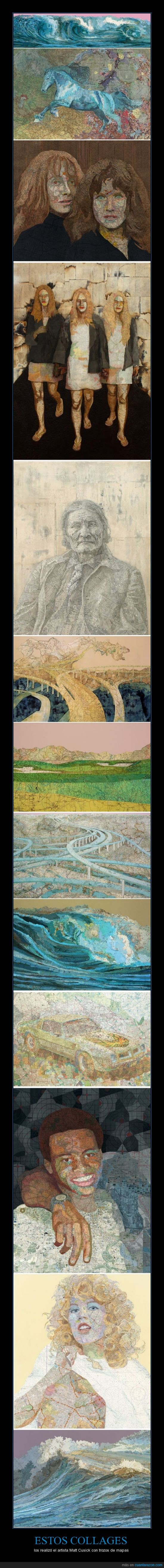 arte,collage,mapas,matt cusick