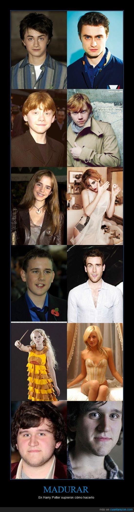 antes y después,daniel,emma watson,Harry Potter,hermione,neville mola,rupert grint