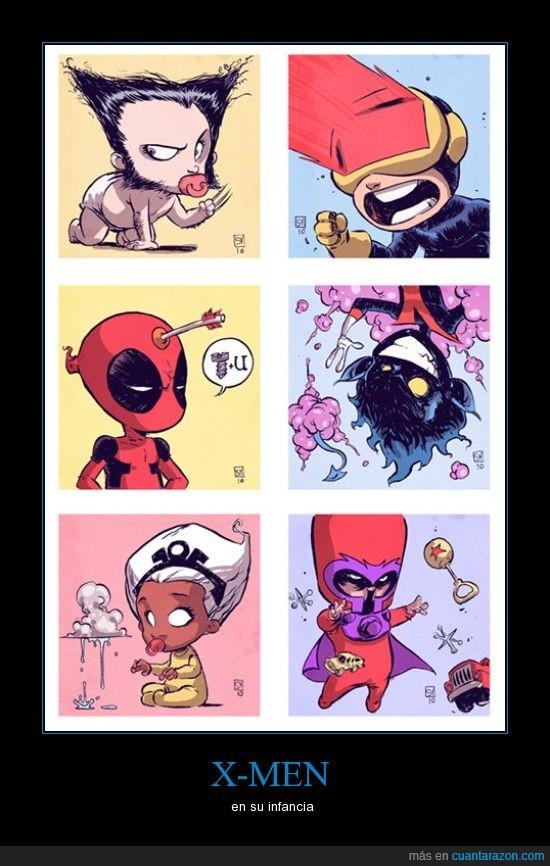 bebes,chicos,ciclope,deadpool,infancia,lobezno,magneto,poderes,tormenta,x-men