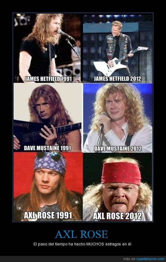 1991,2012,axl rose,dave mustaine,james hetfield,tiempo