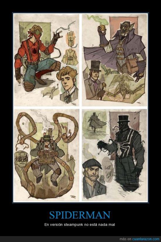 dr. octopus,el duende verde,spiderman,steampunk,venom