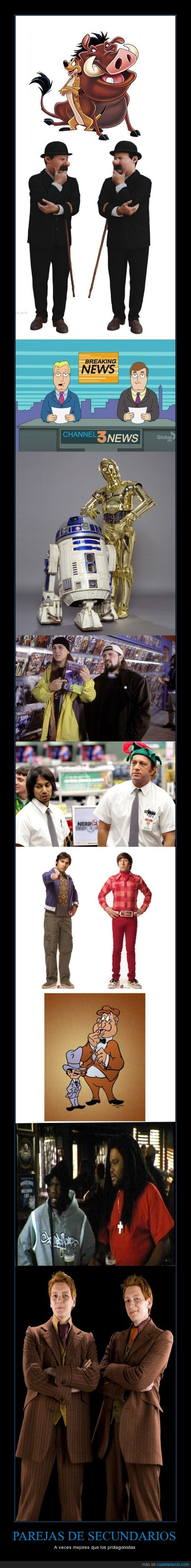 amigos,Big Bang,Chuck,cine,comedia,entrañable,Harry Potter,Parejas,secundarios,Star Wars,televisión,Timón y Pumba,Tintín