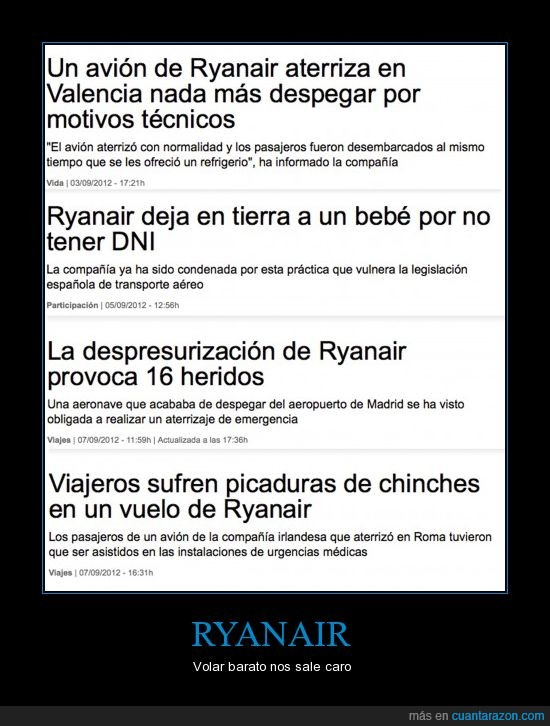 accidentes,aire,avión,caro,chinches,fails,noticias,ryanair,tampoco es tan barato