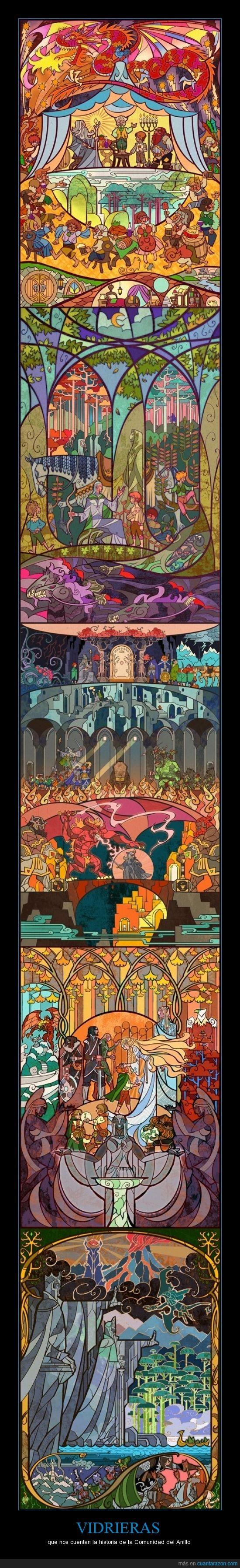 El señor de los anillos,ESDLA,Frodo,Gandalf,Jian Guo,la comunidad del anillo,Sam,vidrieras