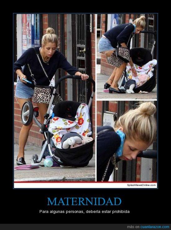 bebé,caer,cochecito,madre,móvil,suelo